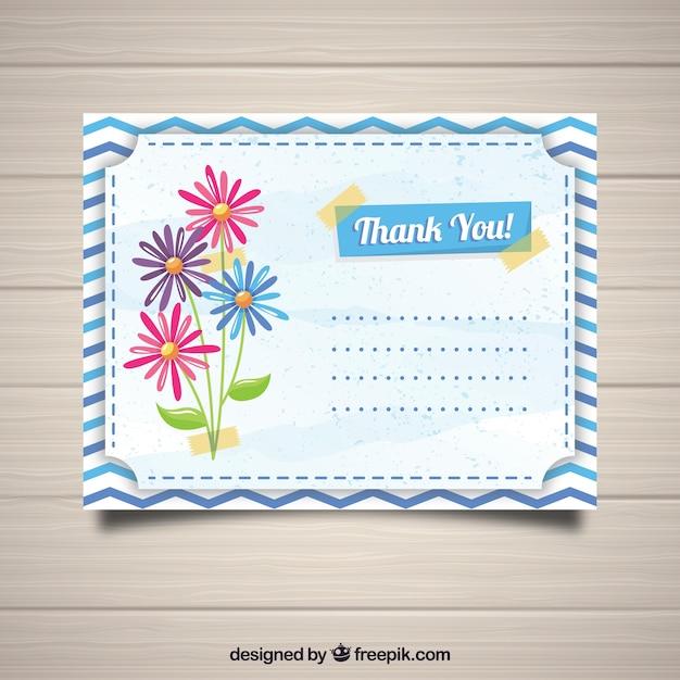 postal de agradecimiento con flores descargar vectores gratis