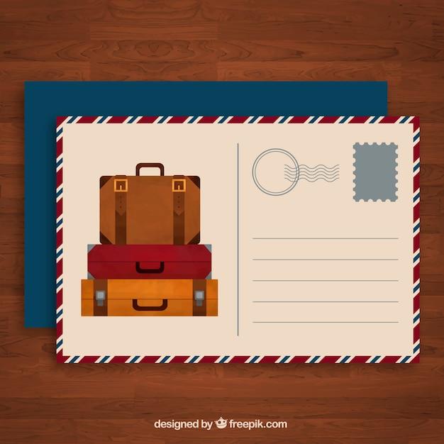 Postal de viaje con maletas diferentes  1d801ea03fd
