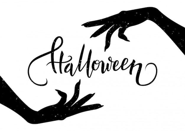 Postal de halloween con manos espeluznantes y texto de caligrafía, ilustración vectorial Vector Premium