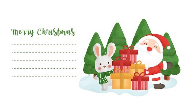 Postal de navidad con una linda papá noel y amigos para tarjeta de felicitación. Vector Premium