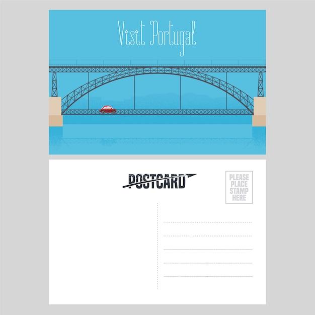 Postal de portugal con el puente de oporto sobre el río duero ilustración vectorial Vector Premium