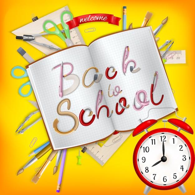Postal de regreso a la escuela. suministros de oficina con cuaderno. archivo incluido Vector Premium