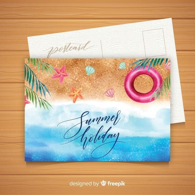 Postal de vacaciones de verano en acuarela vector gratuito