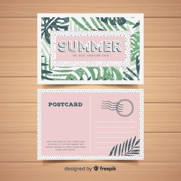 Postal de vacaciones de verano en diseño plano vector gratuito