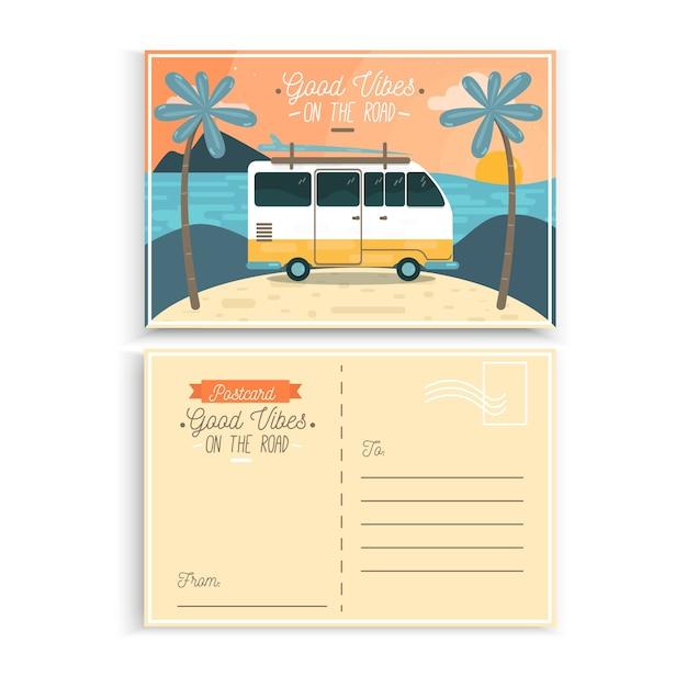 Postal vacaciones de verano furgoneta vector gratuito