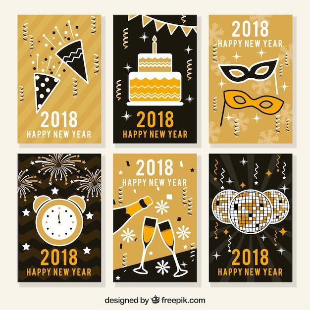adebd96c2 Postales de año nuevo en negro y dorado vector gratuito