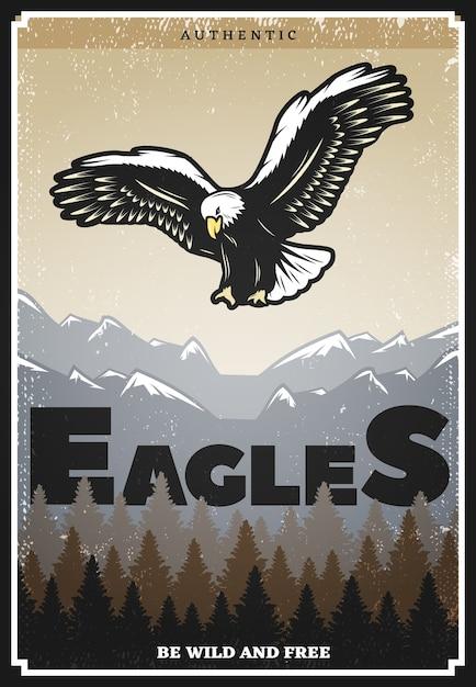 Póster águila americana de color vintage vector gratuito
