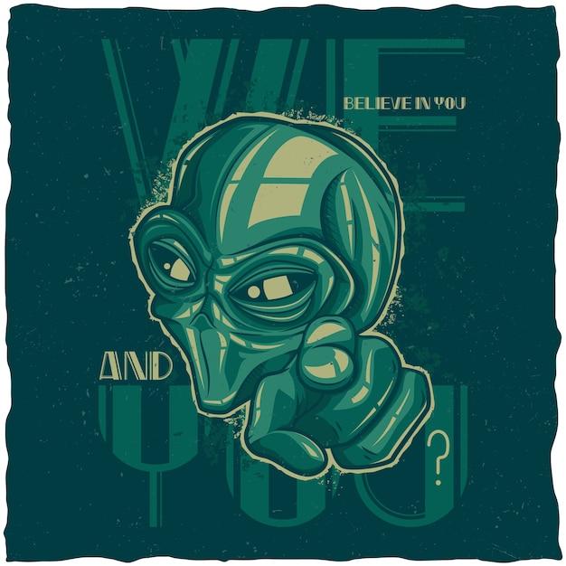 Póster alienígena vector gratuito