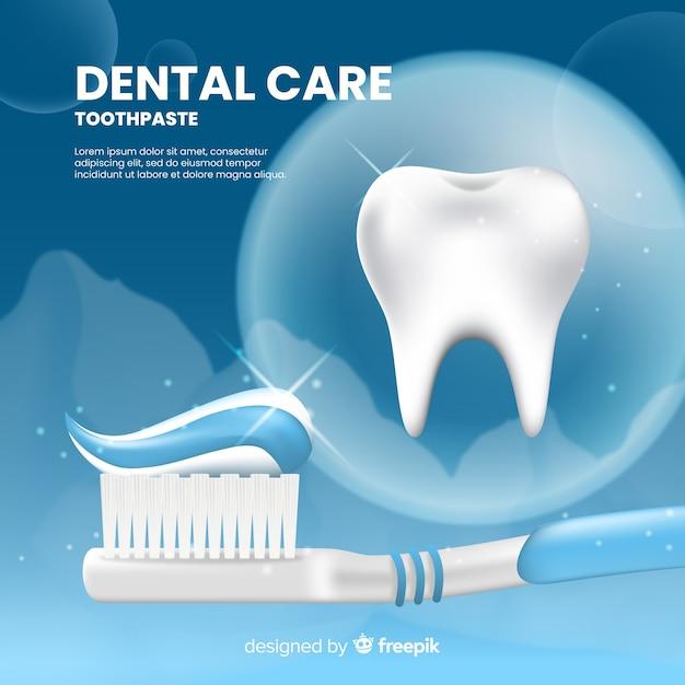 Poster de anuncio realista de pasta de dientes fresca vector gratuito