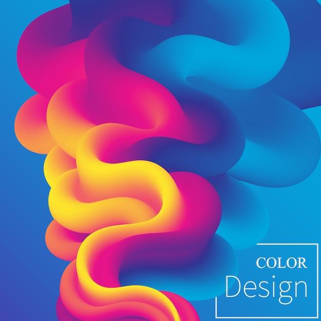 Póster. colores fluidos. forma líquida. salpicadura de tinta. nube colorida. ola de flujo. cartel moderno. fondo de color. . Vector Premium