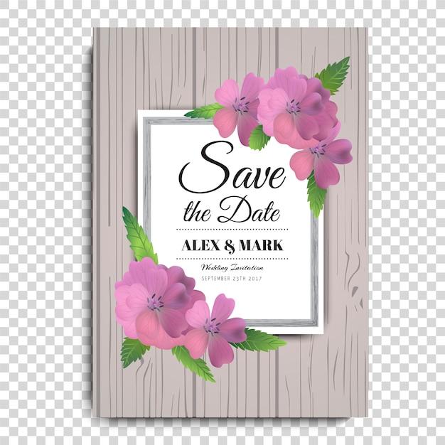 Póster de boda con flores rosas   Descargar Vectores gratis