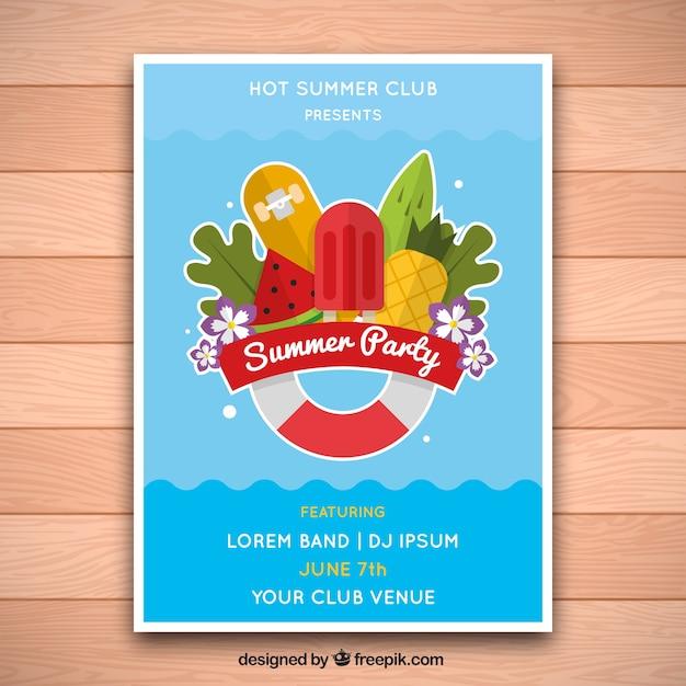 Poster de fiesta de verano con dise o de piscina for Programa diseno de piscinas 3d gratis