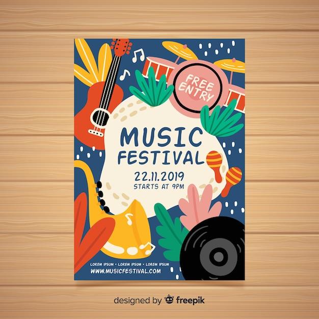 Poster dibujado de festival de música vector gratuito