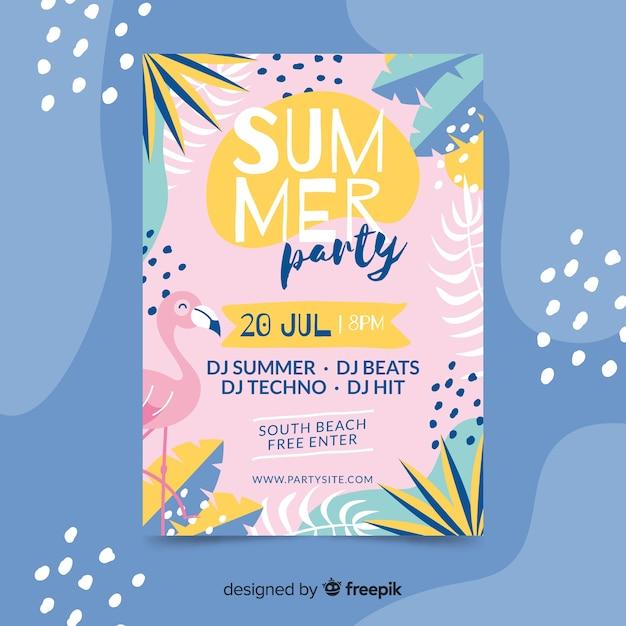 Poster dibujado de fiesta de verano vector gratuito