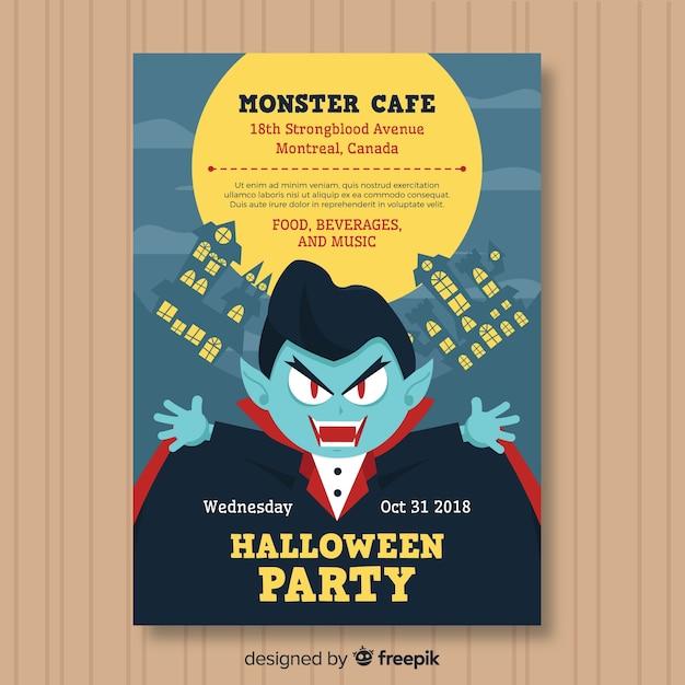 Póster espeluznante de fiesta de halloween con diseño plano vector gratuito