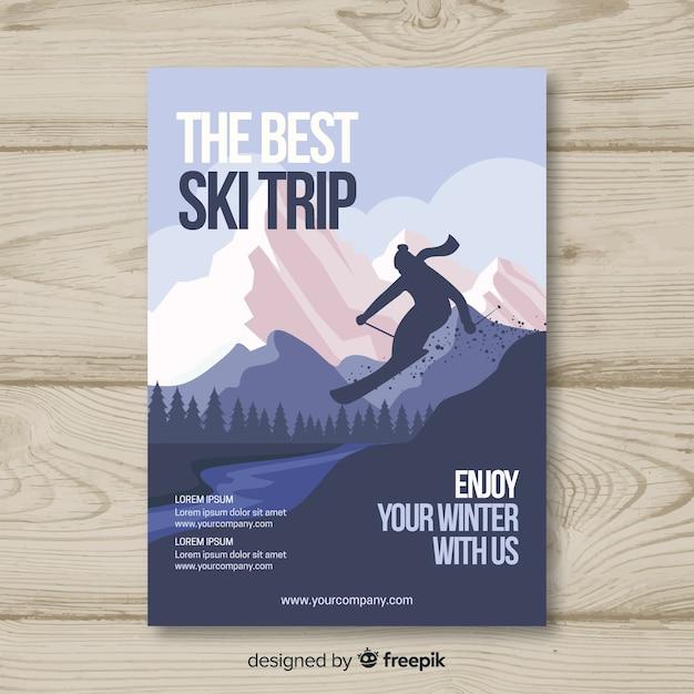 Poster excursión esquí silueta esquiador vector gratuito