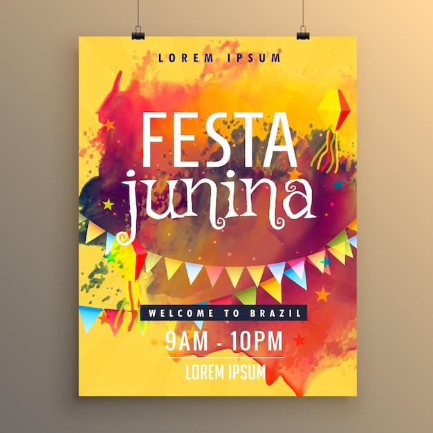 Póster para festa junina con manchas coloridas de pintura vector gratuito