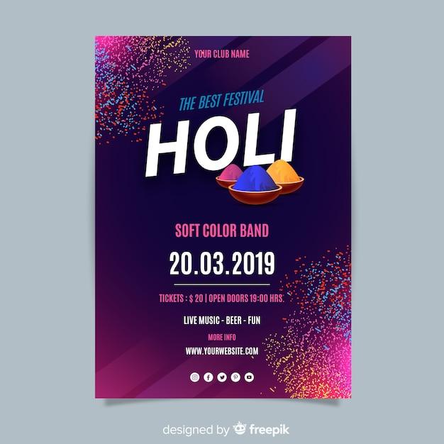 Poster de festival holi vector gratuito