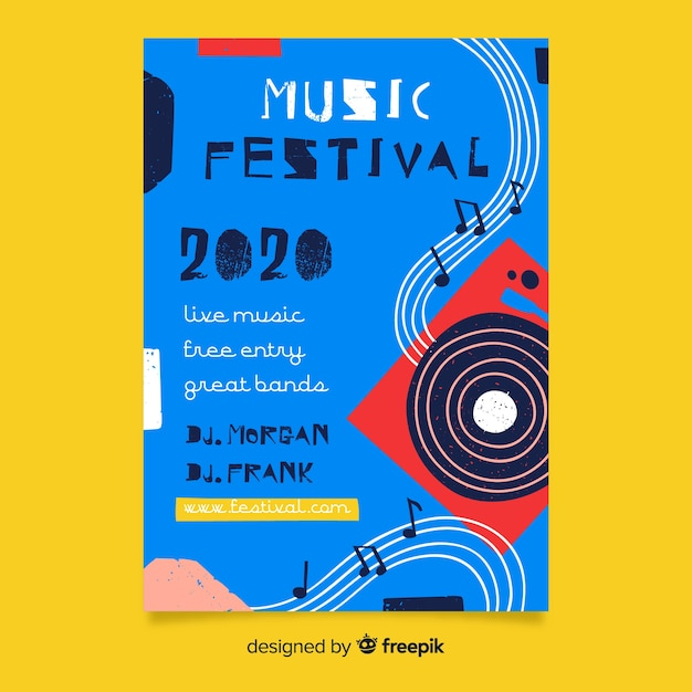 Póster de festival de música abstracto dibujado a mano vector gratuito