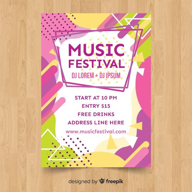 Póster festival música colorida vector gratuito