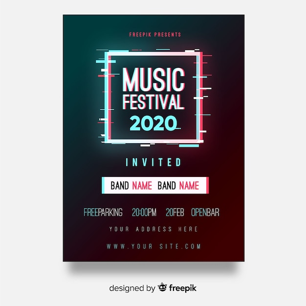 Póster festival música cuadrado vector gratuito