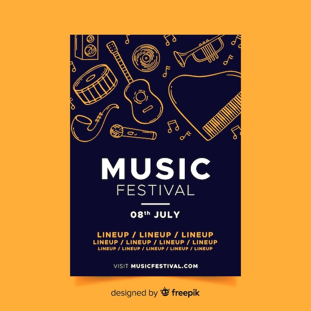 Poster de festival de música dibujado a mano vector gratuito