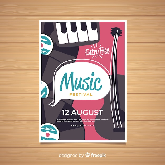 Póster de festival de música dibujado a mano vector gratuito