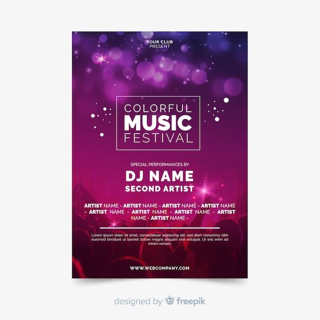 Poster de festival de música con fotografía vector gratuito
