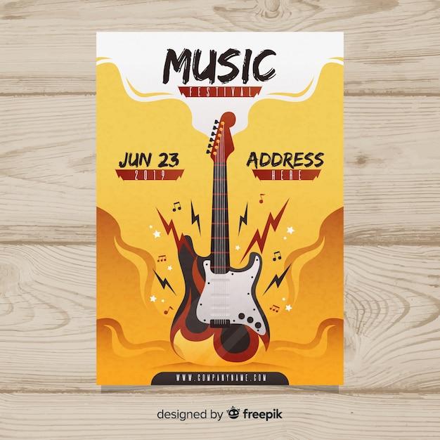 Póster de festival de música con ilustración en degradado vector gratuito