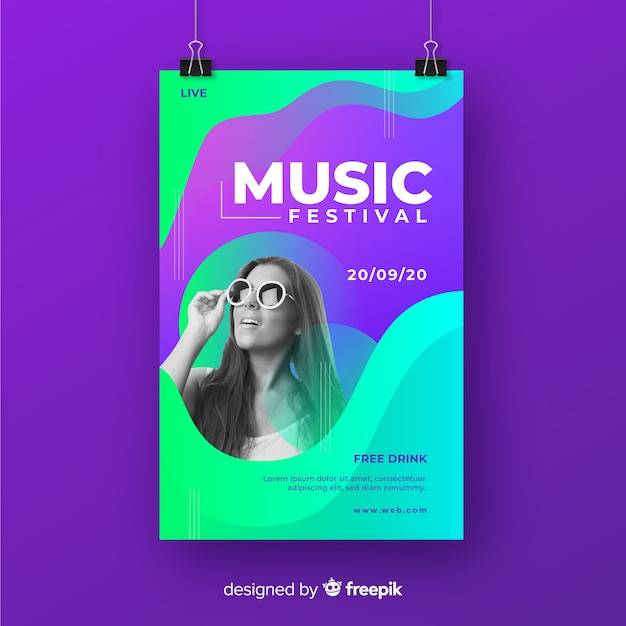 Poster de festival de música con imagen vector gratuito