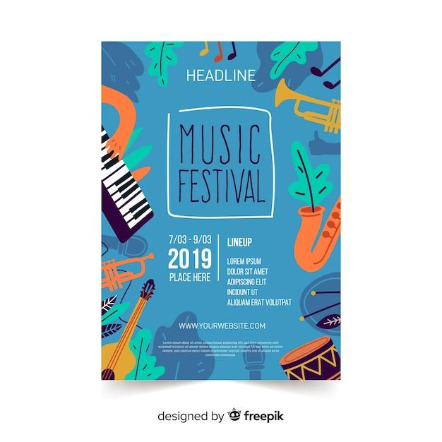 Póster festival música instrumentos dibujados a mano vector gratuito