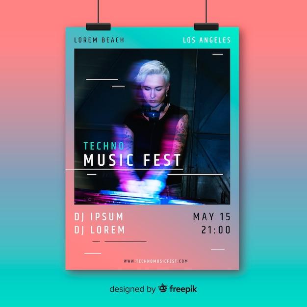 Poster de festival de música vector gratuito