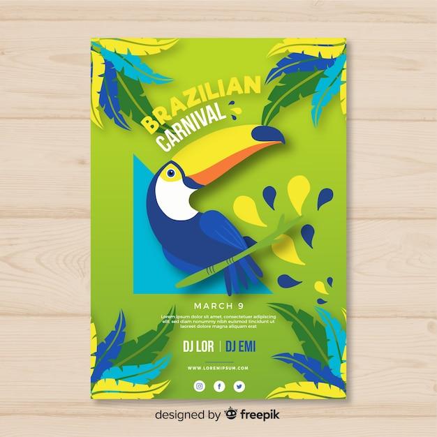Póster fiesta carnaval brasileño tucán dibujado a mano vector gratuito