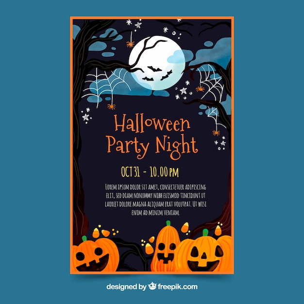 Poster fiesta de halloween en diseño plano vector gratuito