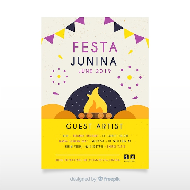 Poster de fiesta junina vector gratuito
