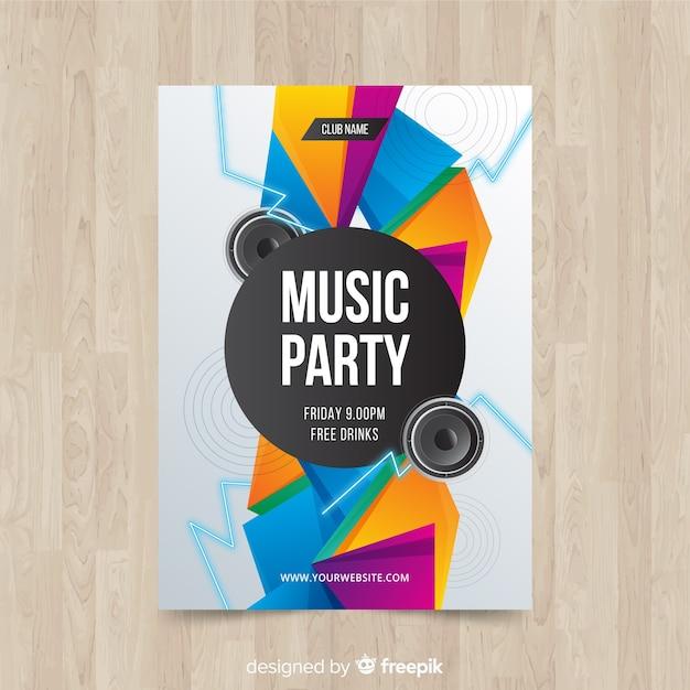 Póster fiesta de música formas geométricas vector gratuito