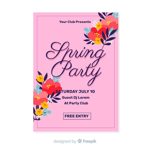 Póster fiesta primavera esquinas florales vector gratuito