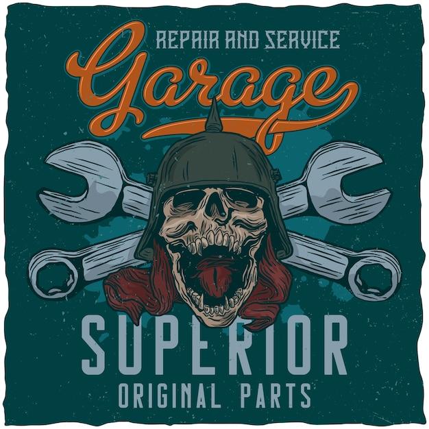 Póster de garaje con calavera y llaves vector gratuito