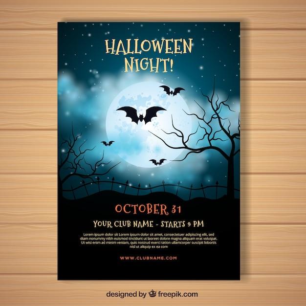 Póster de halloween con cielo nocturno realista Vector Premium