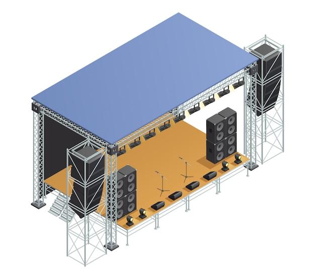 Póster con imagen isométrica de escenario, construcción metálica con altavoces, micrófonos, proyectores y vector gratuito