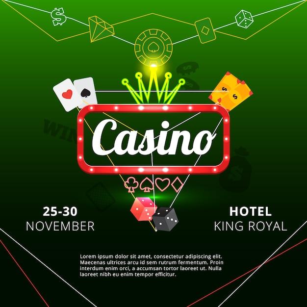 Póster de invitación al hotel king royal casino. vector gratuito