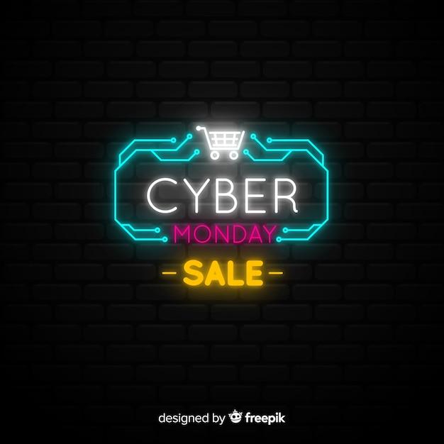 Poster de ladrillos de cyber monday con luces de neón vector gratuito