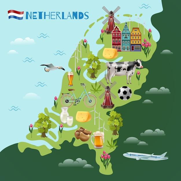 Póster del mapa de viajes culturales de holanda vector gratuito