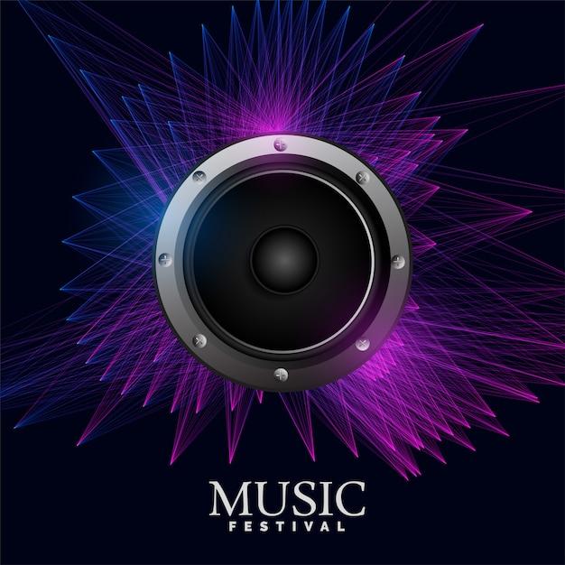 Póster de música electro con altavoz y líneas abstractas. vector gratuito