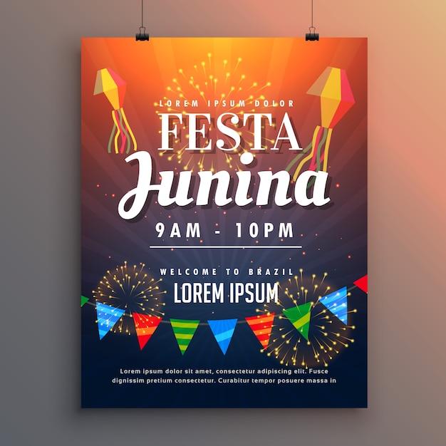 Póster naranja para festa junina con fuegos artificiales vector gratuito