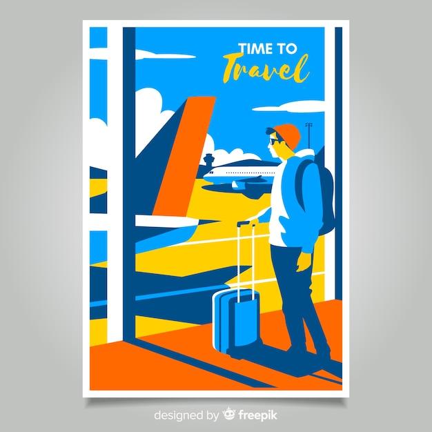 Póster promocional vintage de viaje en diseño plano vector gratuito