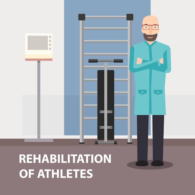 Poster publicidad profesional fisioterapeuta Vector Premium