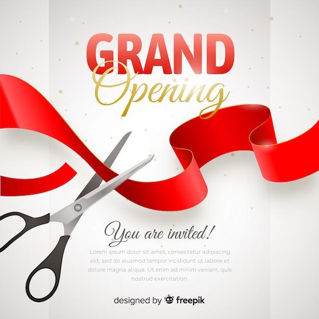 Poster realista de gran inauguración con tijeras vector gratuito