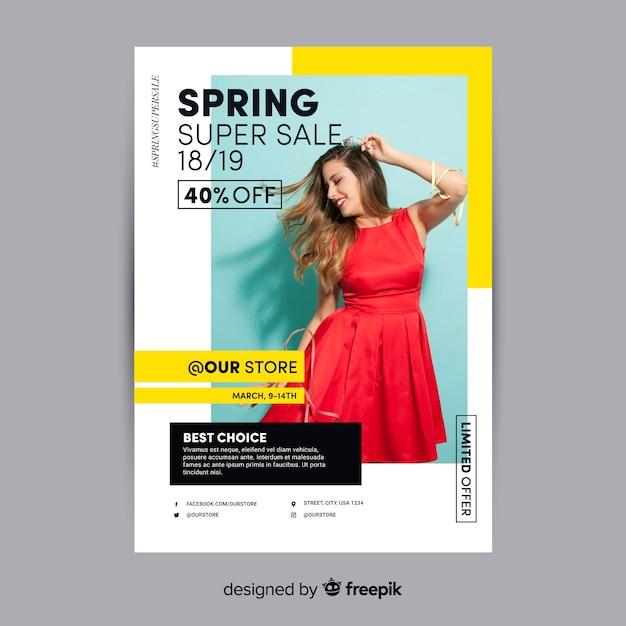Póster rebajas primavera fotográfico vector gratuito