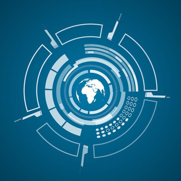 Póster de tecnología virtual moderna con imagen de mapa del mundo de color blanco y diferentes elementos tecnológicos, formas en azul oscuro vector gratuito